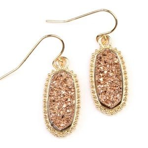 🔶GOLD BROWN DRUZY STONE OVAL EARRINGS🔶